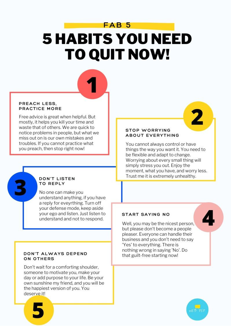 5 Habits You Need To Quit Now- Infographic
